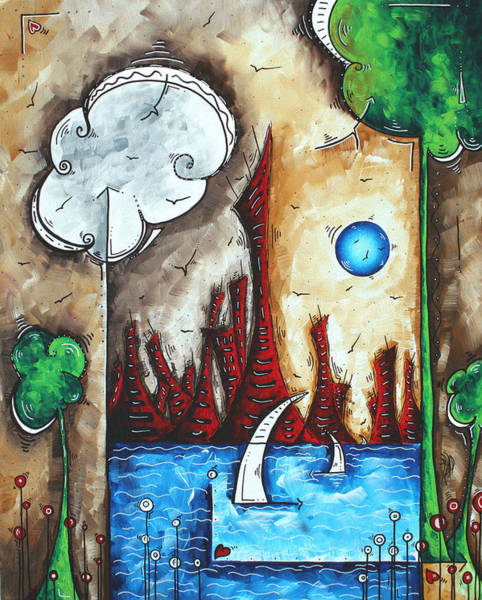 Wall Art - Painting - Abstract Art Contemporary Cityscape Original Painting Cast Over The City By Madart by Megan Duncanson