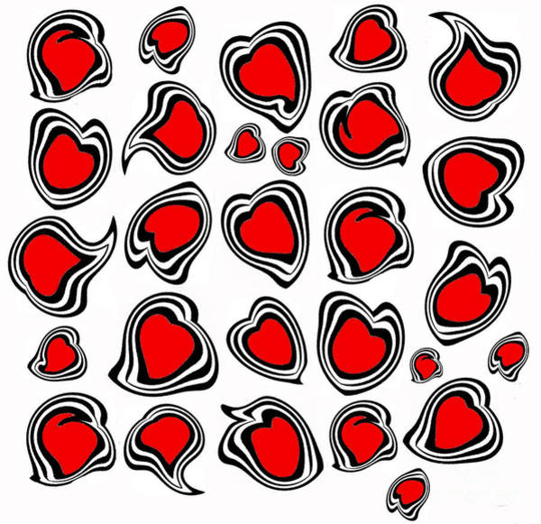 Digital Art - Hearts Black White Red No.386. by Drinka Mercep