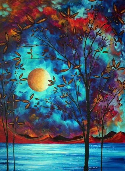 Red Moon Painting - Abstract Art Landscape Tree Blossoms Sea Moon Painting Visionary Delight By Madart by Megan Duncanson