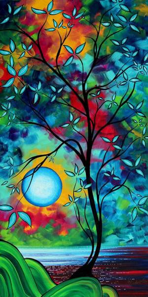 Red Moon Painting - Abstract Art Landscape Tree Blossoms Sea Painting Under The Light Of The Moon I  By Madart by Megan Duncanson
