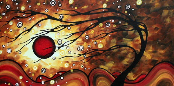 Wall Art - Painting - Abstract Art Original Circle Painting Flaming Desire By Madart by Megan Duncanson