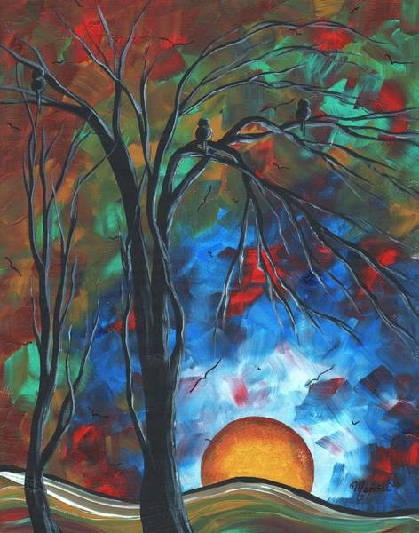 Wall Art - Painting - Abstract Art Original Colorful Bird Painting Spring Blossoms By Madart by Megan Duncanson