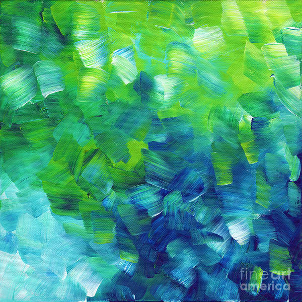 Wall Art - Painting - Abstract Art Original Textured Soothing Painting Sea Of Whimsy I By Madart by Megan Duncanson