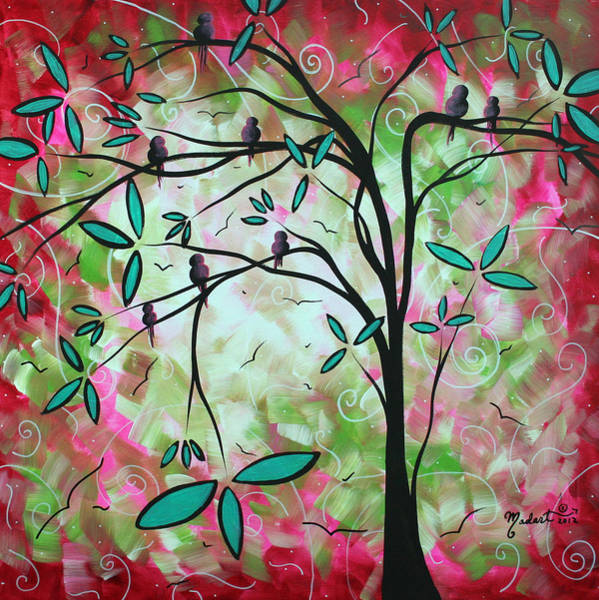 Wall Art - Painting - Abstract Art Original Whimsical Magical Bird Painting Through The Looking Glass  by Megan Duncanson