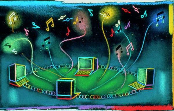 Across Photograph - Abstract Artwork Of Computers On A Network by Andrzej Dudzinski/science Photo Library