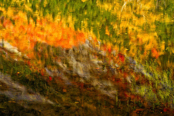 Photograph - Abstract Autumn Reflections Crawford Notch Nh by Jeff Sinon