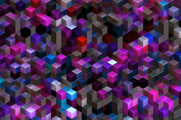 Abstract Background Of Multi-colored Cubes Art Print by Oxygen
