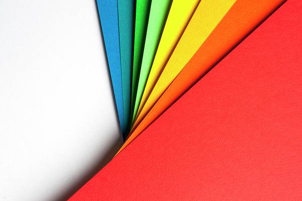 Horizontal Abstract Photograph - Abstract Background With Color Papers by Colormos