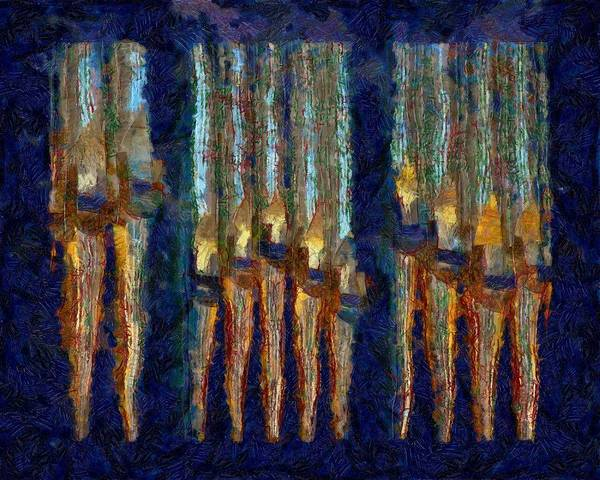 Photograph - Abstract Blue And Gold Organ Pipes by Jenny Setchell