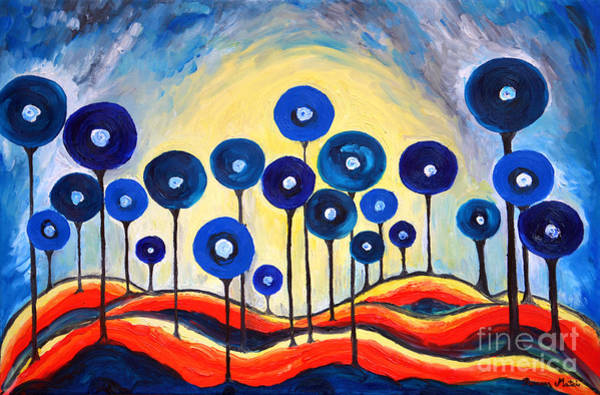 Wall Art - Painting - Abstract Blue Symphony  by Ramona Matei