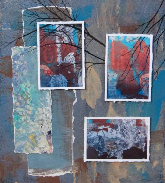 Mixed Media - Abstract Branch Collage Trio by Anita Burgermeister
