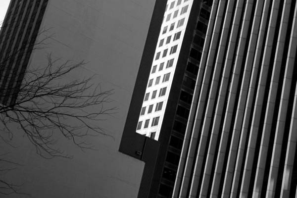 Photograph - Abstract Building Patterns Black White by Patrick Malon