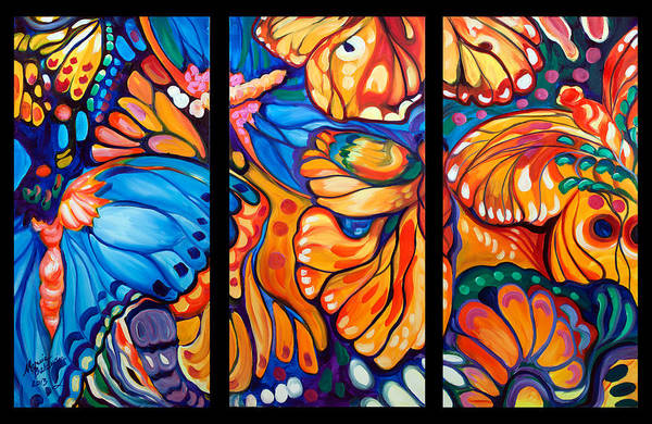 Painting - Abstract Butterflies Triptych by Marcia Baldwin