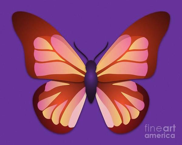 Digital Art - Butterfly Graphic Orange Pink Purple by MM Anderson