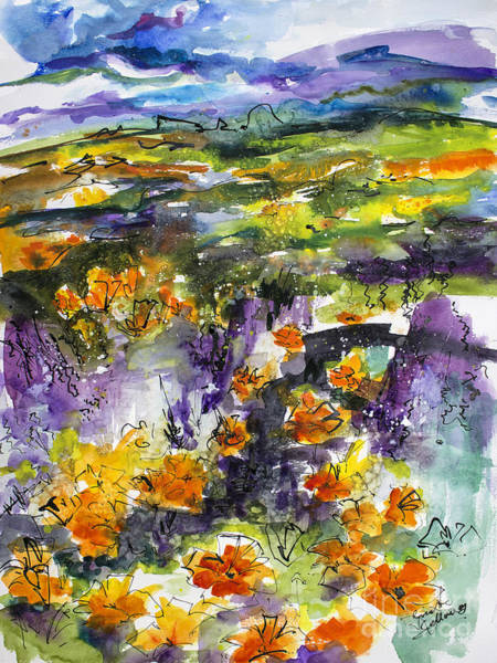 Painting - Abstract California Poppies by Ginette Callaway