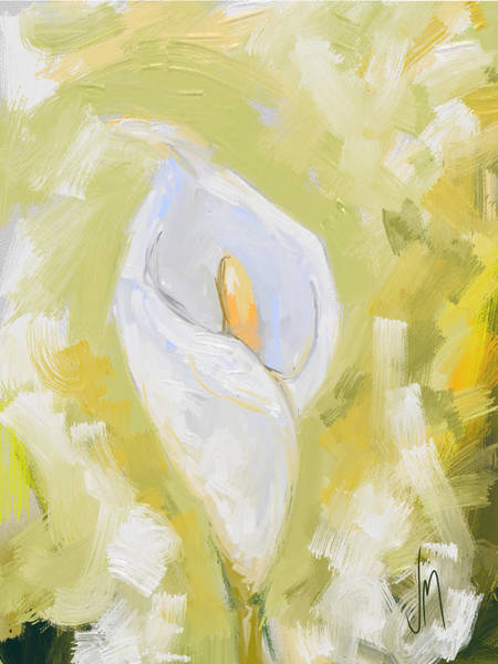 White Lily Painting - Abstract Calla Lily by Veronica Minozzi