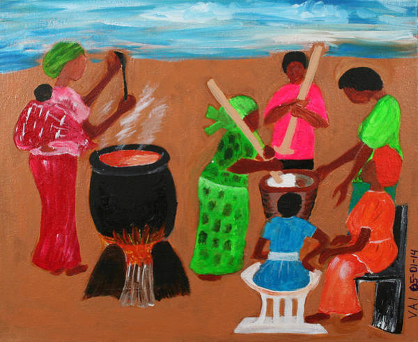 Ghana Painting - Abstract Ceremonial Cooking by Vivian IDOWU