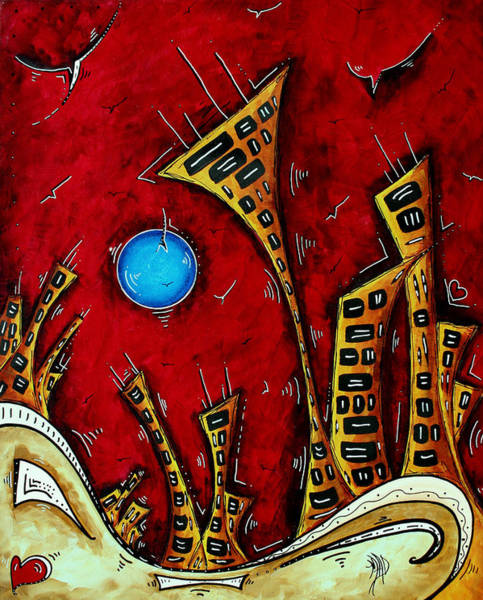 Wall Art - Painting - Abstract City Cityscape Art Original Painting Stand Tall By Madart by Megan Duncanson