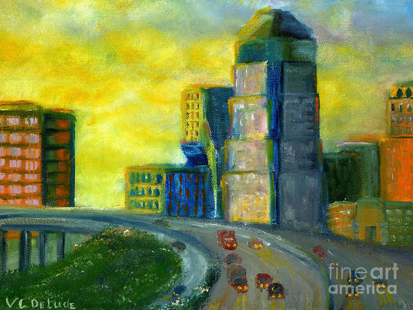 Painting - Abstract City Downtown Shreveport Louisiana by Lenora  De Lude