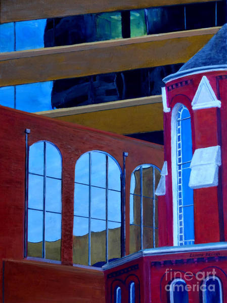 Painting - Abstract City Downtown Shreveport Louisiana Urban Buildings And Church by Lenora  De Lude