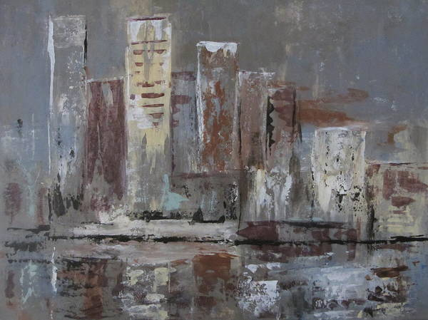 Painting - Abstract City Reflections by Anita Burgermeister