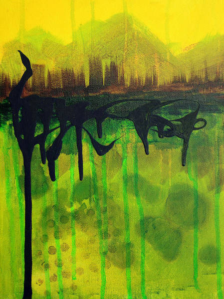 City Landscape Wall Art - Painting - Abstract Cityscape Skyline by Nancy Merkle