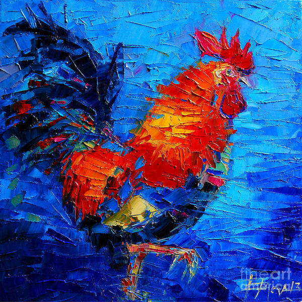 White Feathers Painting - Abstract Colorful Gallic Rooster by Mona Edulesco