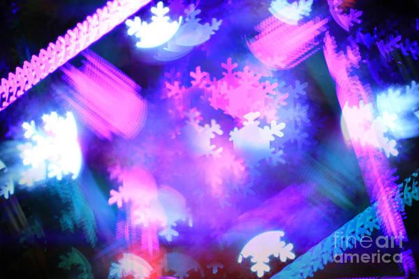 Manual Focus Wall Art - Photograph - Abstract Colorful Snowflakes Bokeh Lights by Beverly Claire Kaiya