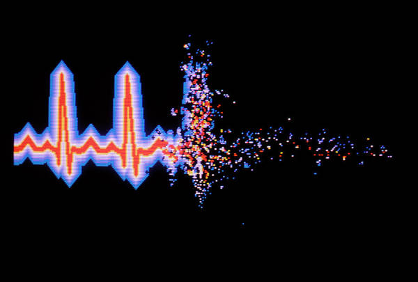Pulse Photograph - Abstract Comp. Graphics Of Fading Human Pulse by Mehau Kulyk/science Photo Library