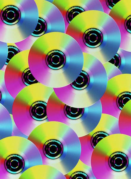Roms Photograph - Abstract Computer Art Of Compact Disks by Mehau Kulyk/science Photo Library