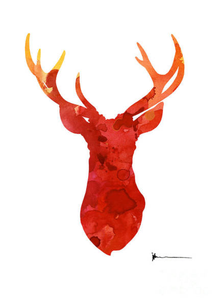 Abstract Deer Antlers Silhouette Watercolor Paintng Art Print