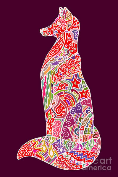 Foxes Digital Art - Abstract Doodle Outline Fox by Neliakott