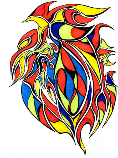 Primary Colors Drawing - Abstract Drawing In Primary Colors by Minding My  Visions by Adri and Ray