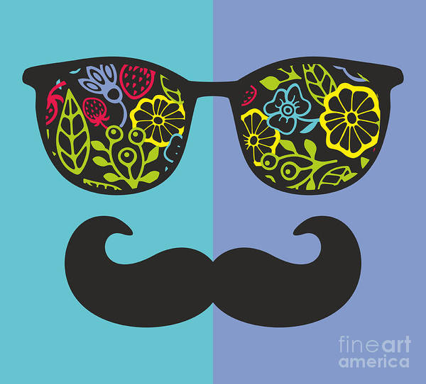 Abstract Face Of Man In Glasses. Vector Art Print