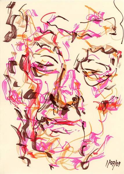 Drawing - Abstract Face by Rachel Scott