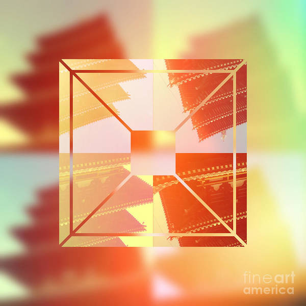Digital Art - Abstract Five-storied Pagoda 1 by Beverly Claire Kaiya