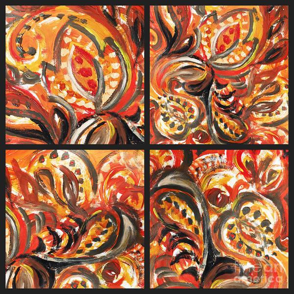 Painting - Abstract Floral Khokhloma Quartet by Irina Sztukowski