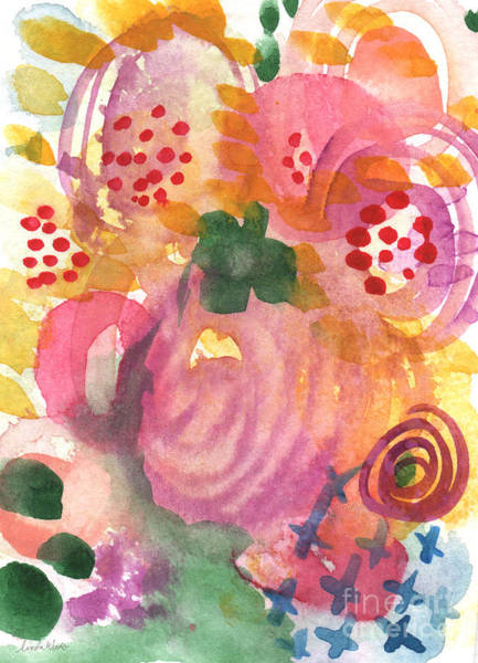 Pink Daisy Painting - Abstract Garden #44 by Linda Woods