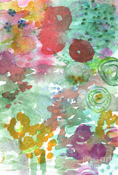 Pink Daisy Painting - Abstract Garden by Linda Woods