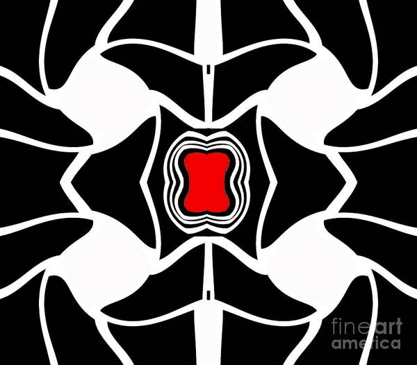 Digital Art - Abstract Geometric Black White Red Art No.381. by Drinka Mercep
