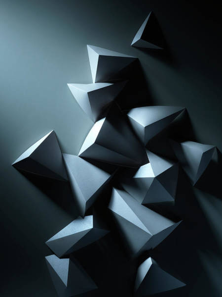 Vertical Abstract Photograph - Abstract Geometric Paper Composition by Sophie Broadbridge