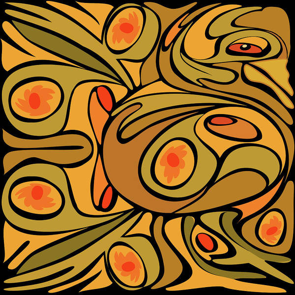 Harker Photograph - Abstract Golden Color Rooster Pattern by Charles Harker