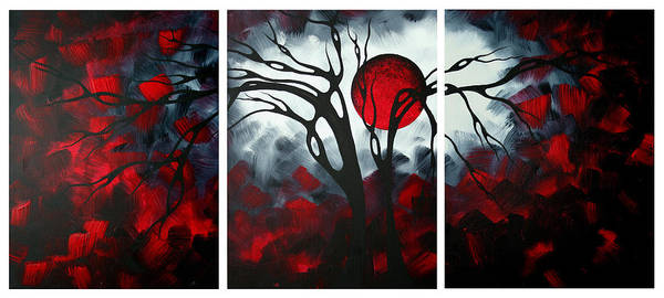 Red Moon Painting - Abstract Gothic Art Original Landscape Painting Imagine By Madart by Megan Duncanson