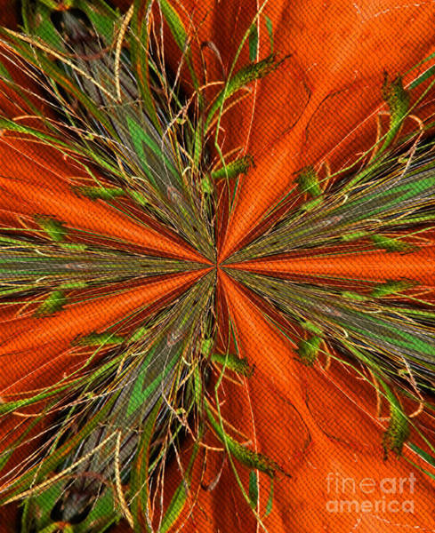 Digital Art - Abstract Green And Orange Shapes by Smilin Eyes  Treasures