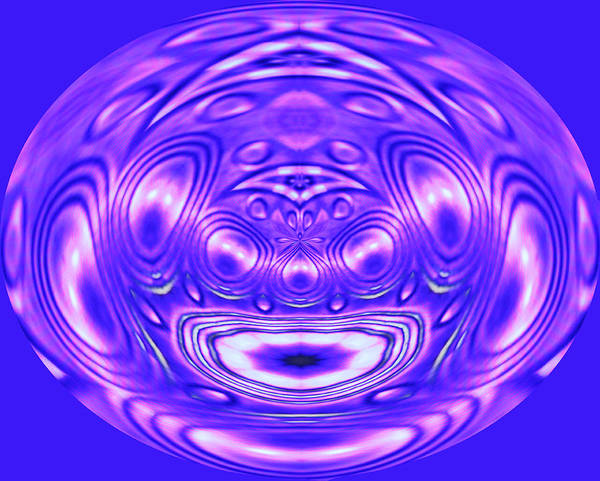 Oval Digital Art - Abstract In Bue With Purple by Linda Phelps