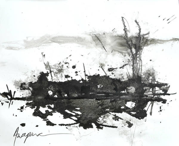 Wall Paper Painting - Modern Abstract Black Ink Art by Patricia Awapara