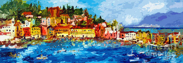 Levante Wall Art - Painting - Abstract Italy Sestri Levante Liguria Panoramic Modern Art by Ginette Callaway