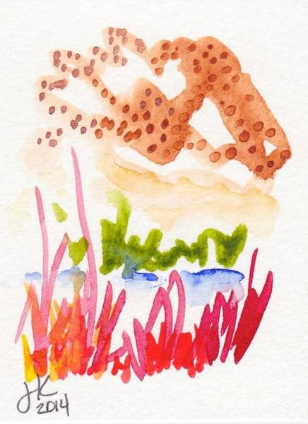 Guache Painting - Abstract Landscape Aceo 1120 20141117 by Julie Knapp