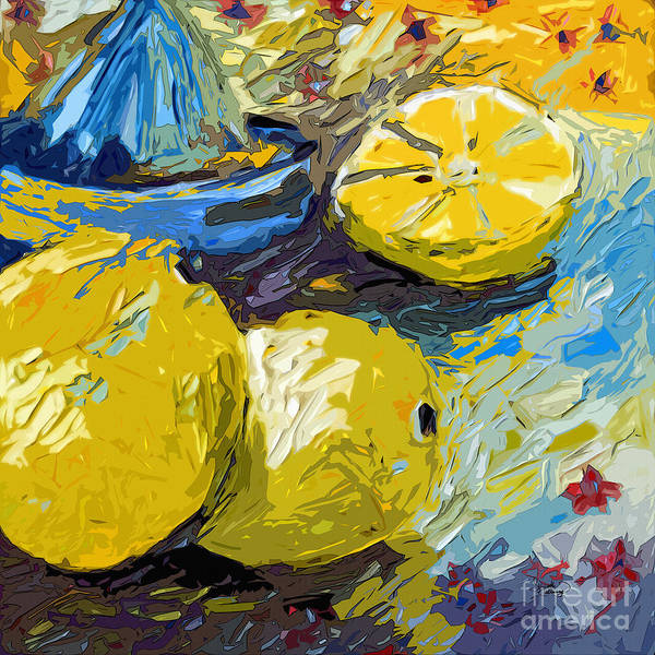 Painting - Abstract Lemons Original Art by Ginette Callaway