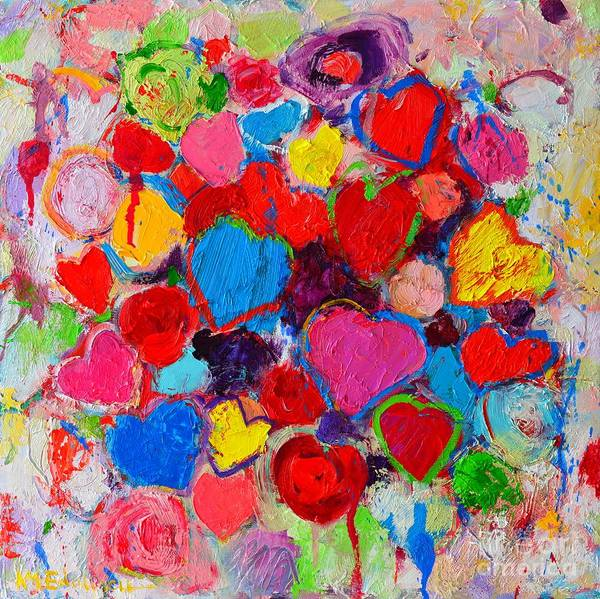 Painting - Abstract Love Bouquet Of Colorful Hearts And Flowers by Ana Maria Edulescu